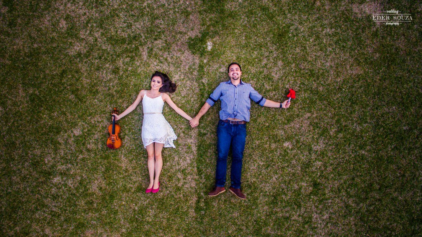 Foto aérea feita com drone, pré wedding diferente!